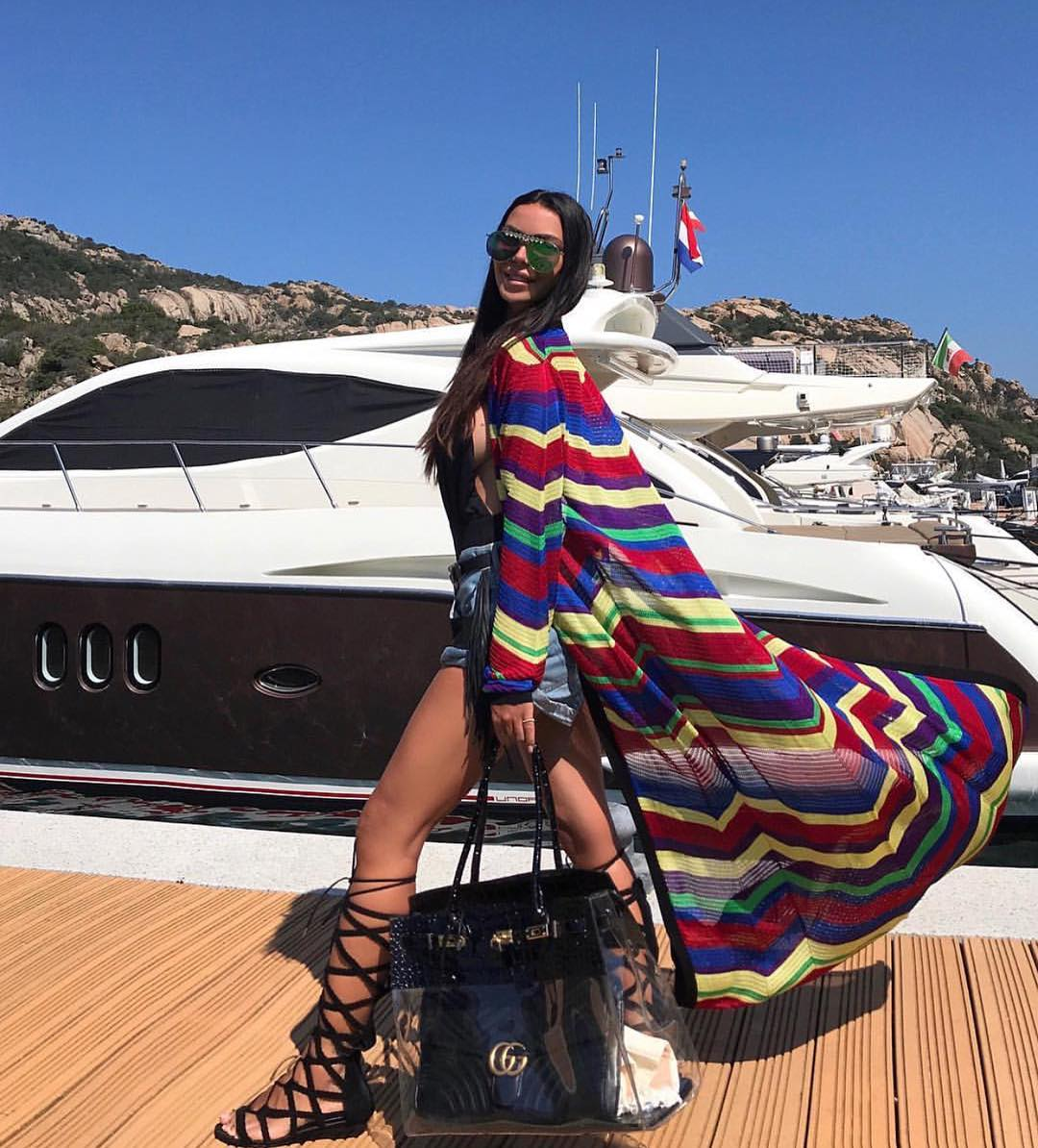 Multi Chevron Sheer Robe Coat For Summer Boat Trip 2019