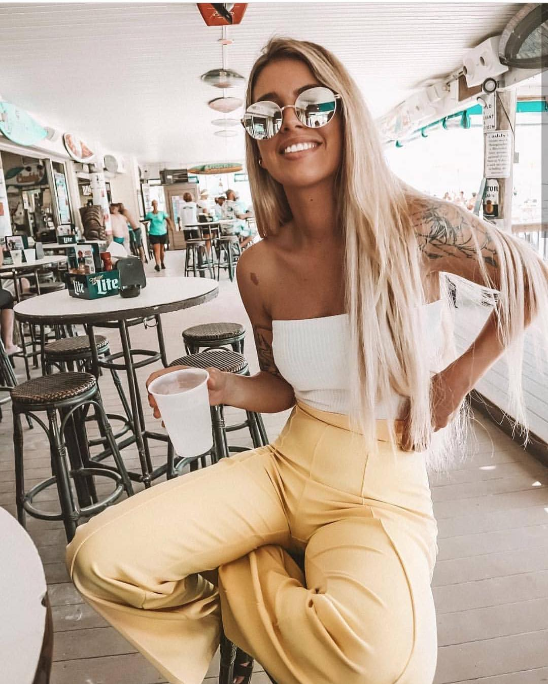 Strapless White Bodysuit And Pastel Yellow Pants For Summer Vacation 2020