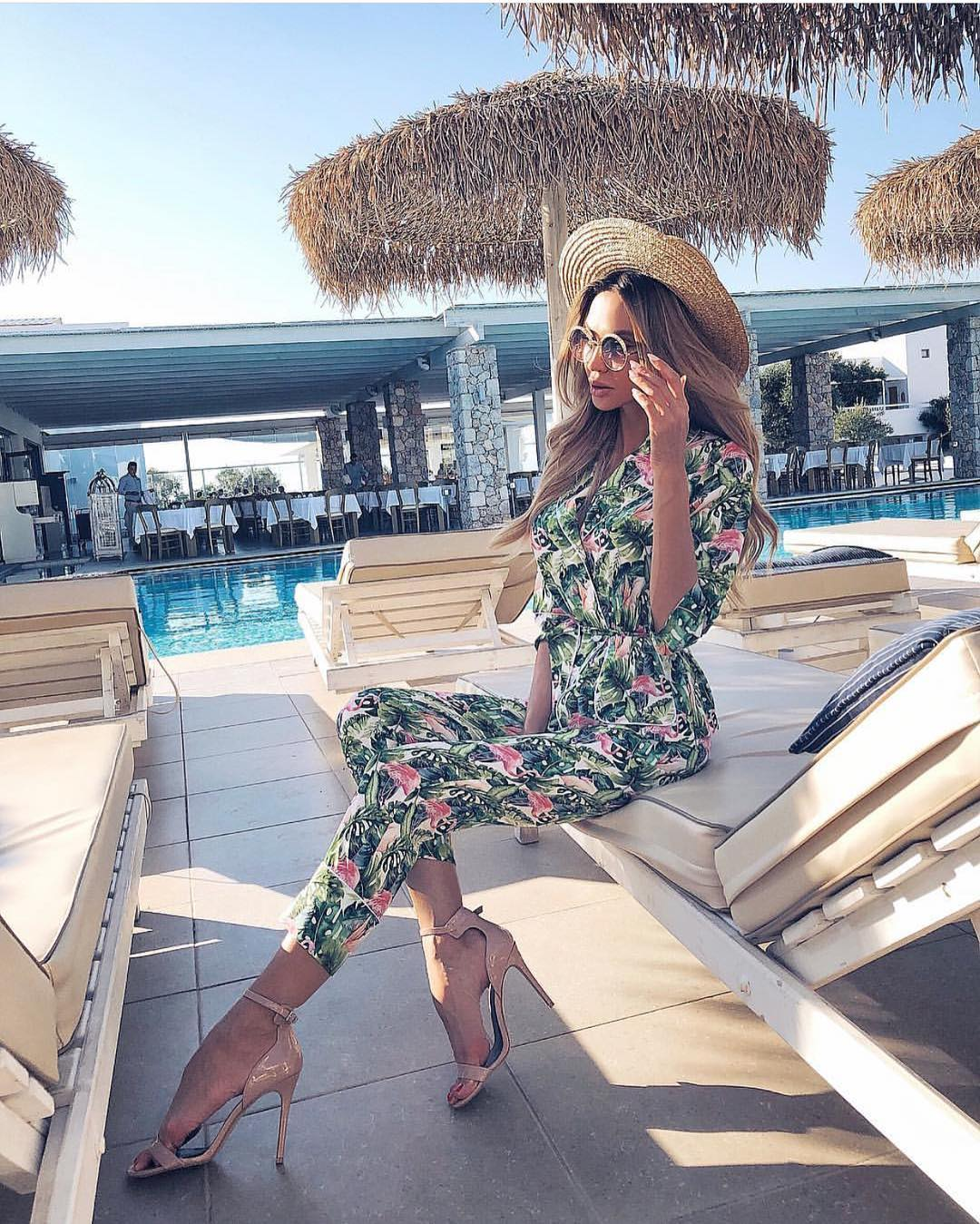Jungle Floral Print Jumpsuit For Summer Vacation 2019