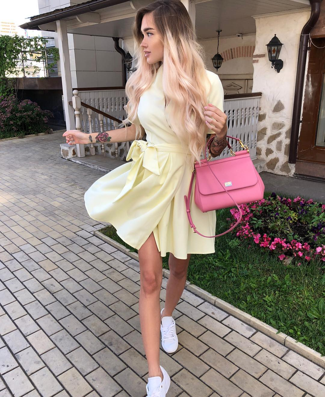 Pastel Yellow Belted Shirtdress With White Sneakers And Pink Handbag 2020
