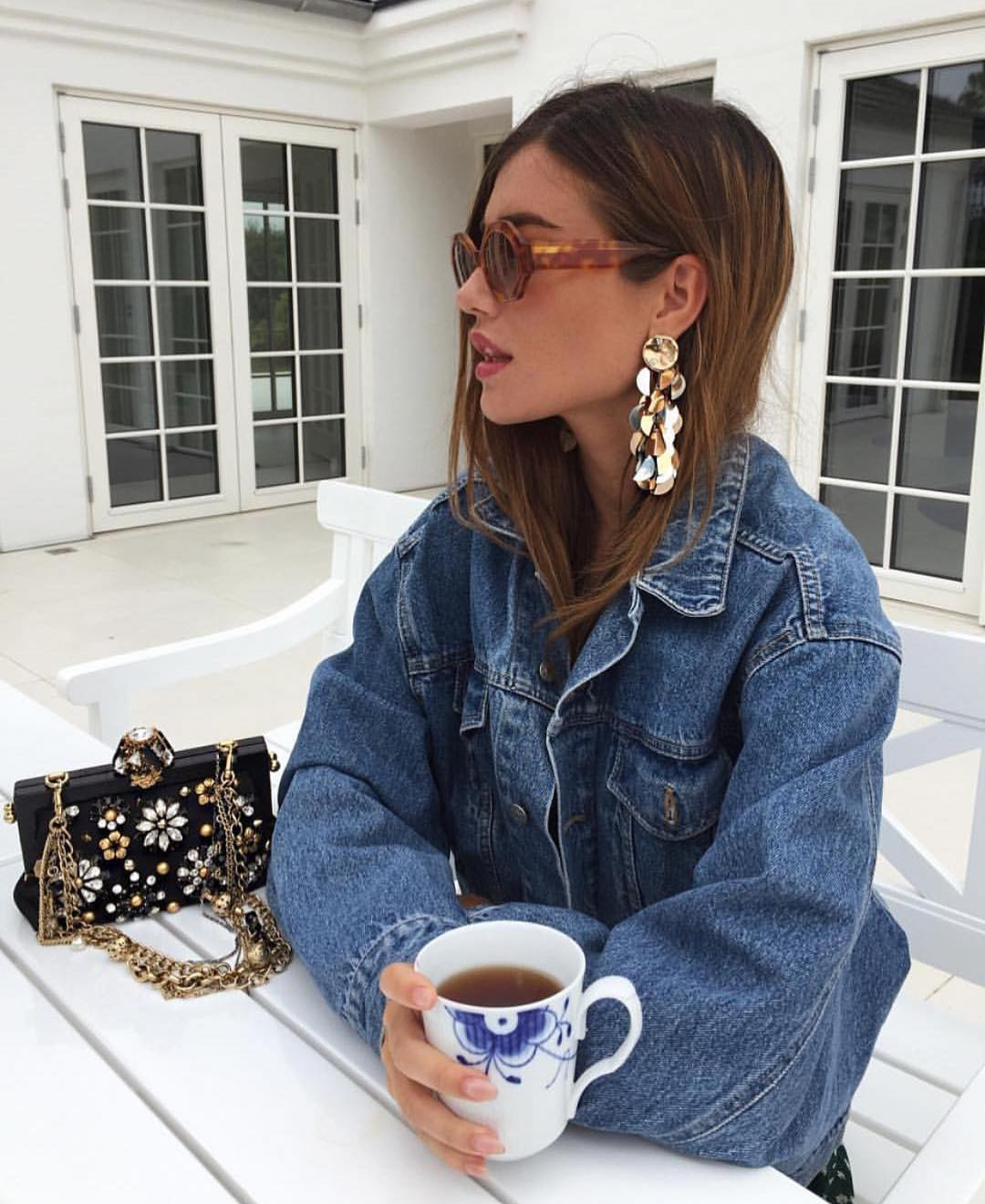 Geometric Shaped Sunglasses And Oversized Denim Jacket For Young Ladies 2019