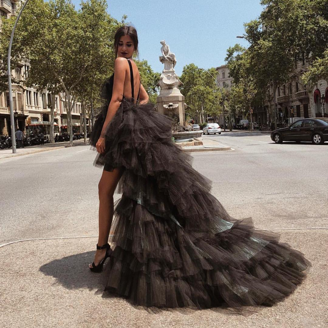 Black Maxi Dress With Tulle Ruffles For Summer Red Carpet 2020