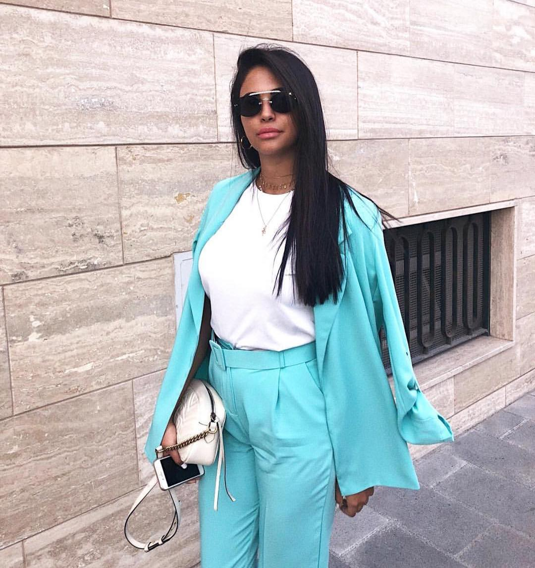 Neon Blue Pantsuit For Summer Glamour Street Walks 2019