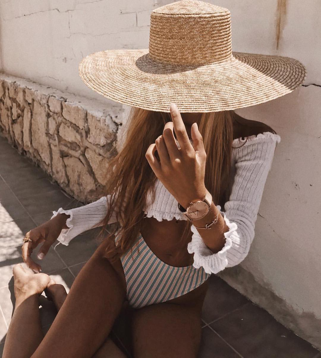 Long Sleeve White Crop Top And Striped Bikini Bottoms For Summer Getaway Vacation 2019