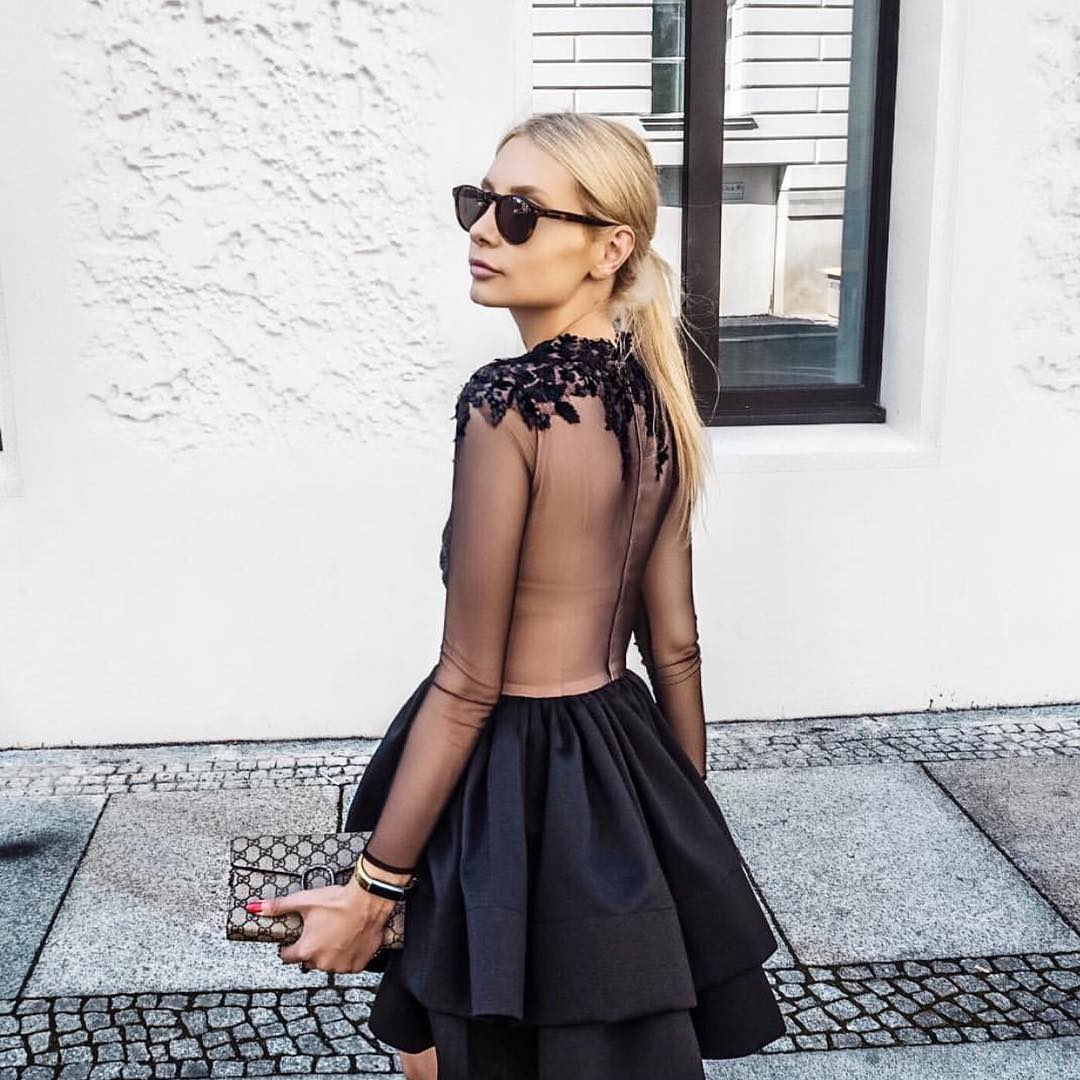 LBD With Sheer Bodice And Sleeves For Summer Special Parties 2020