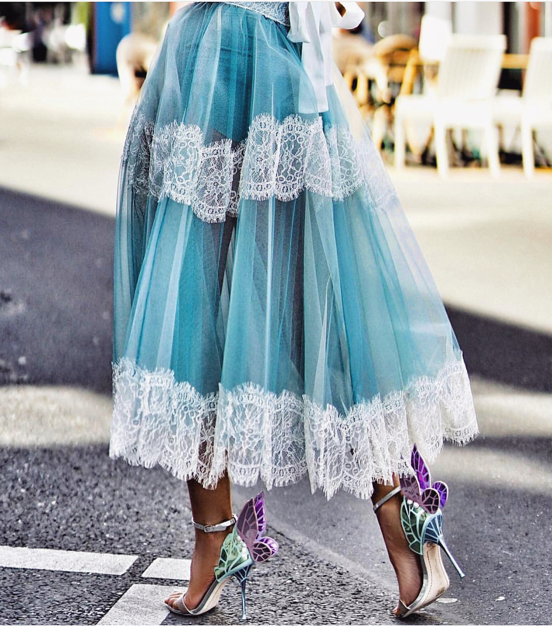 Pastel Blue Tulle Midi Skirt With White Lace Details For Summer Street Walks 2020