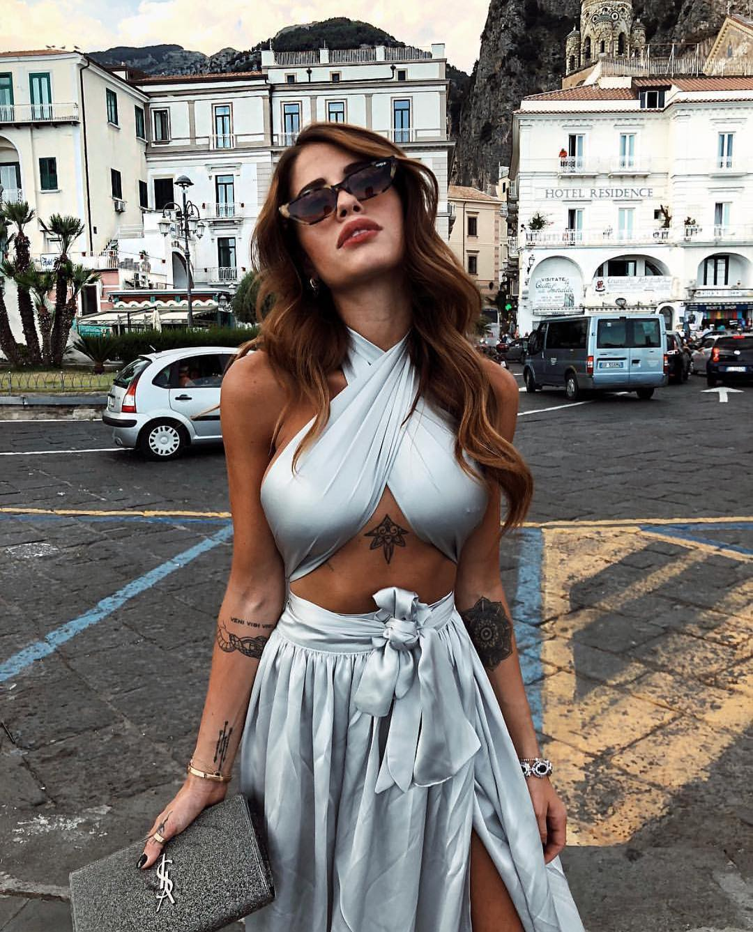 Metallic Pastel Blue Two Piece Dress For Summer Parties 2019