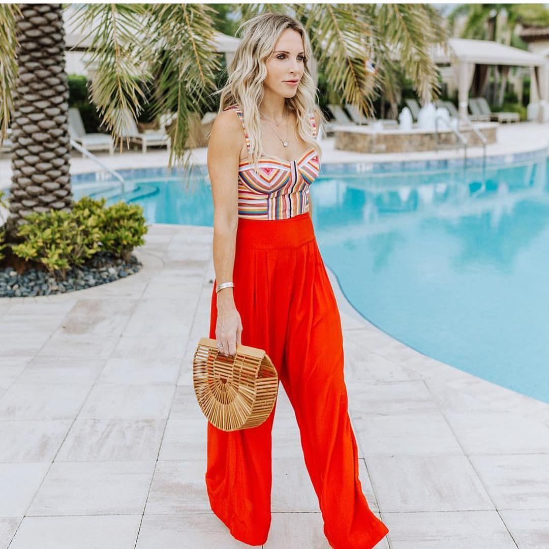 Multistriped Bra Top And Red Wide Leg Pants For Summer Street Walks 2020