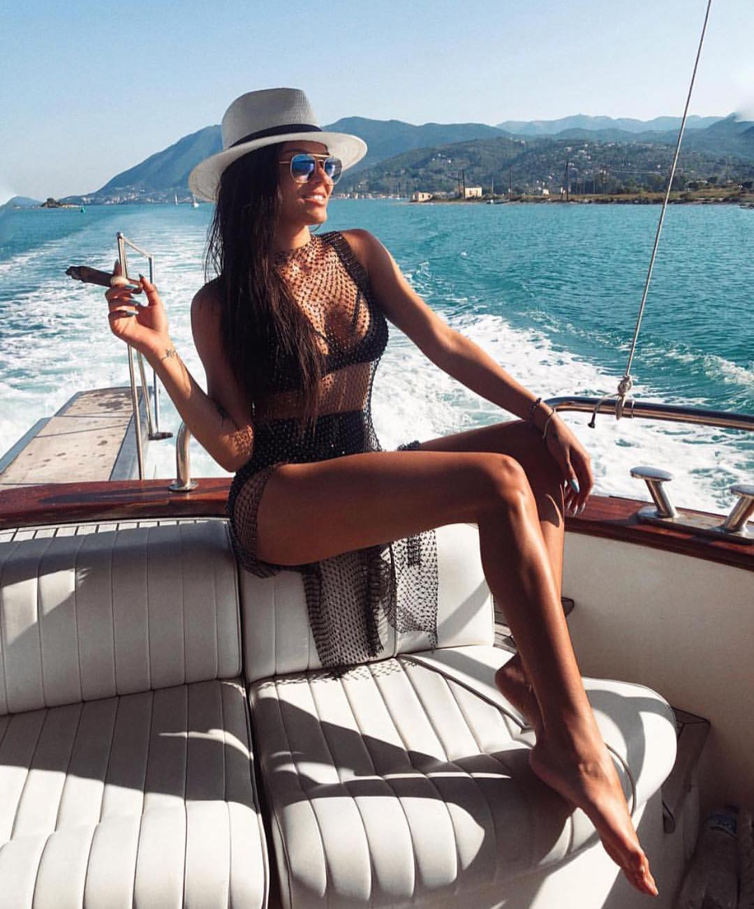 Black Bikini, Net Dress And White Panama Hat For Summer Boat Trip 2020