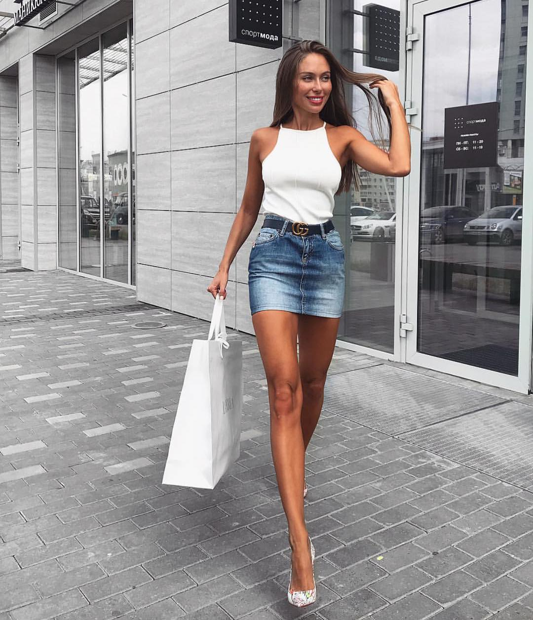 White Halter Neck Tank Top And Denim Mini Skirt For Summer 2019
