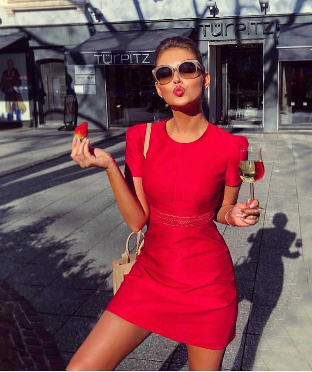 Mini Red Dress With Short Sleeves For Summer Street Walks 2020