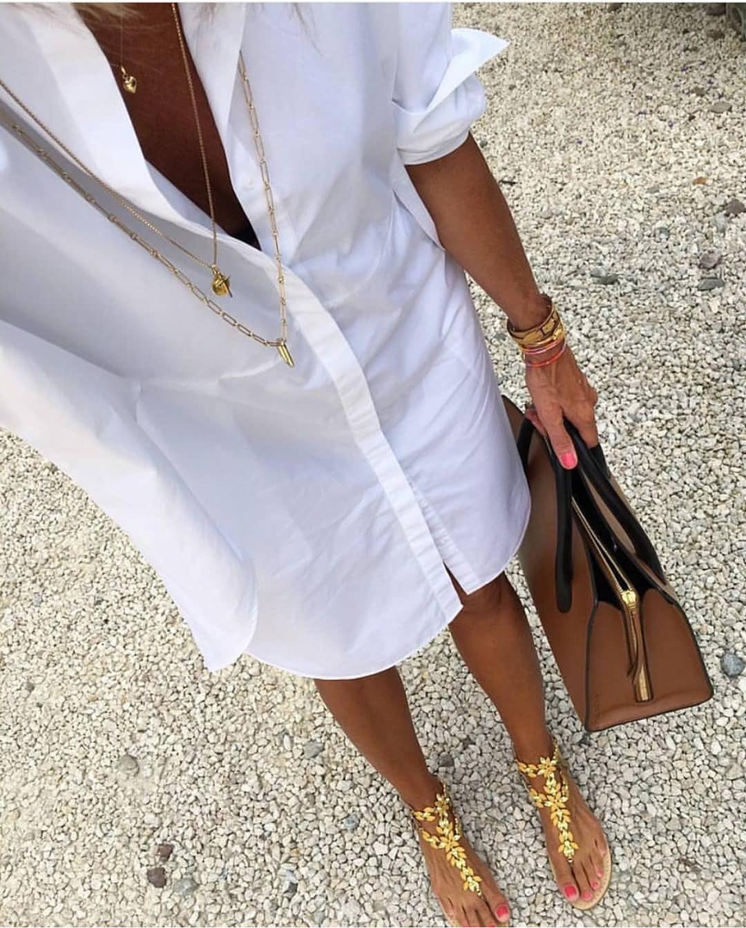 White ShirtDress And Gold Thong Sandals For Summer 2019