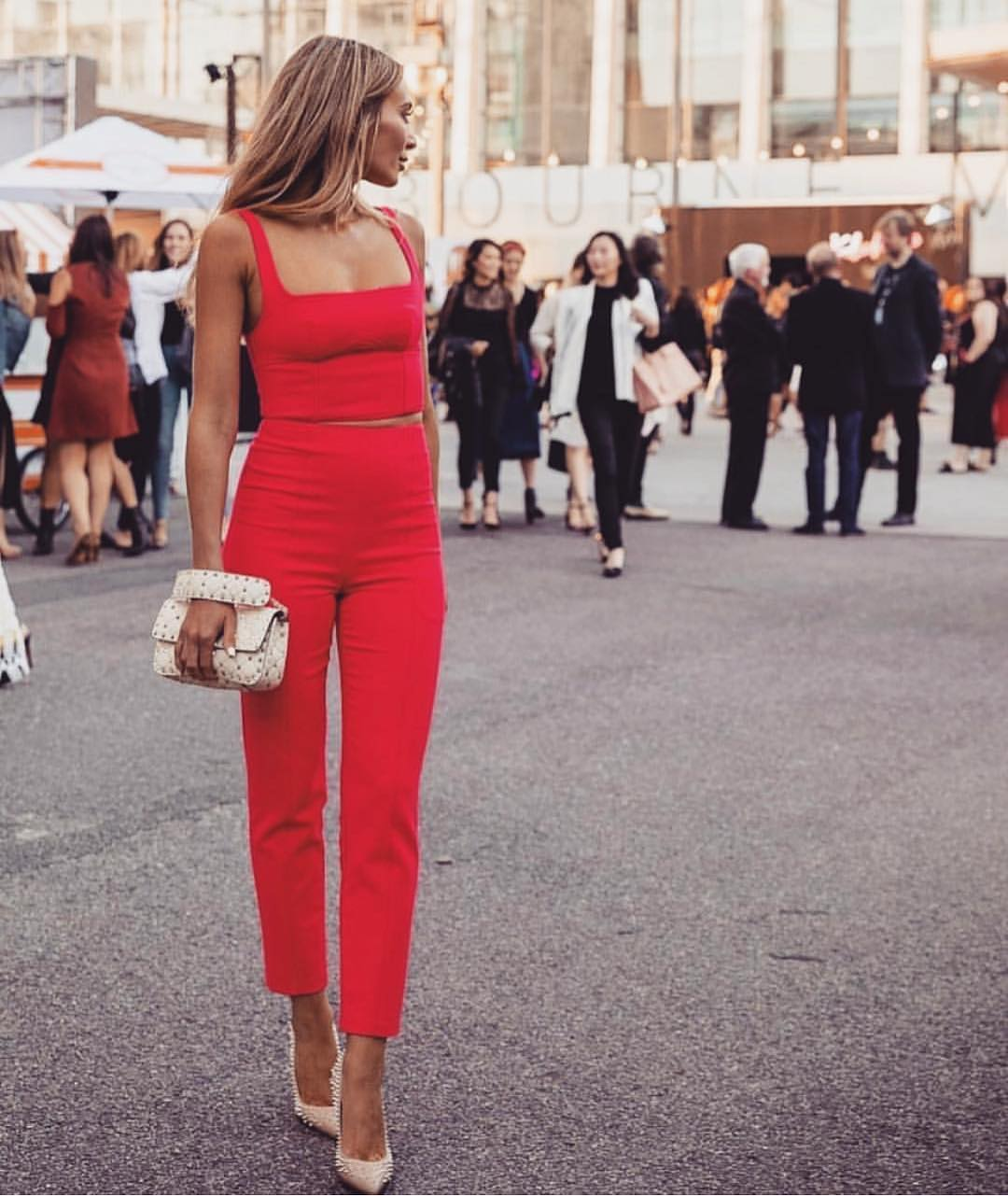 Red Two-Piece Jumpsuit For Summer Street Walks 2020