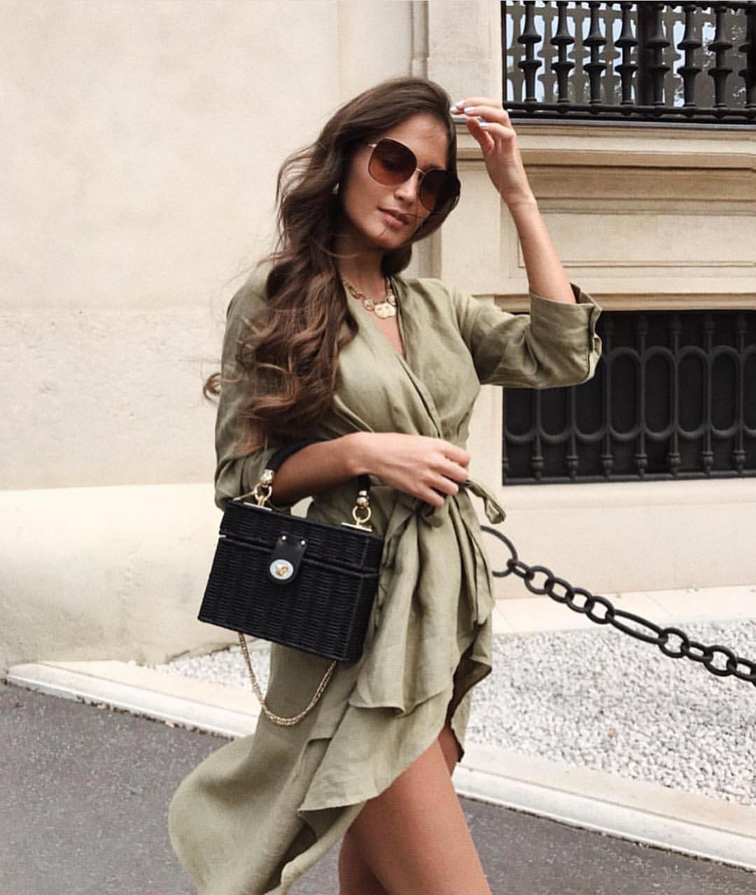 Khaki Olive Wrap Dress For Summer Casual Errands 2019