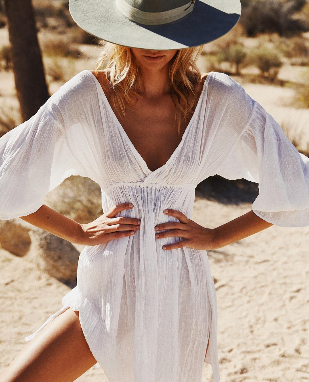 Peasant Semi-Sheer Bohemian Style White Dress For Summer 2020