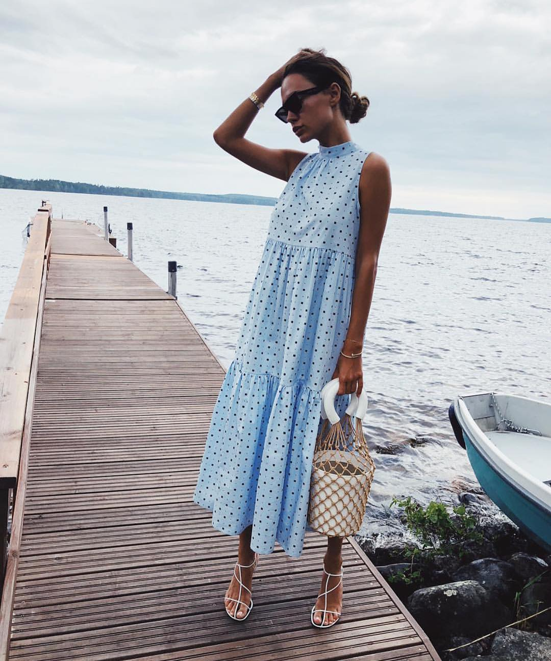 Dotted Light Blue Sleeveless Midi Dress For Garden Parties 2019