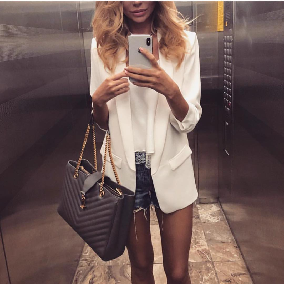 White Blazer And Denim Shorts For Summer Casual Walks In The Town 2019