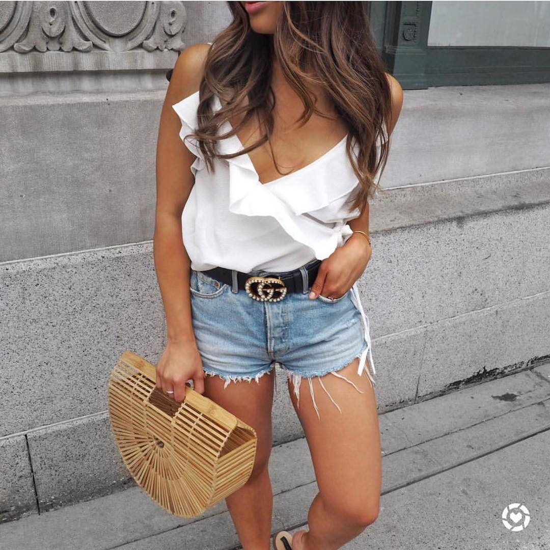 Wide V-neck White Sleeveless Top And Denim Shorts For Summer 2020