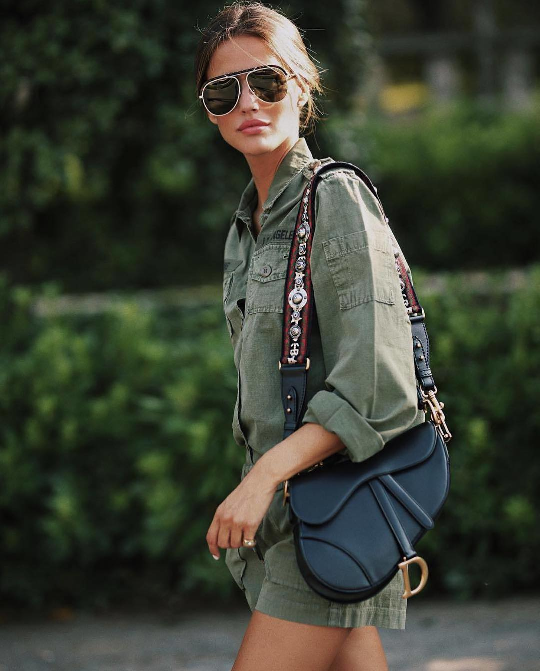 Military Style Green Romper With Aviator Sunglasses For Summer 2019