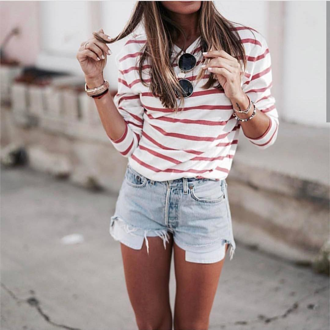 White Red Striped Long Sleeve Top And Wash Blue Denim Shorts For Summer 2020