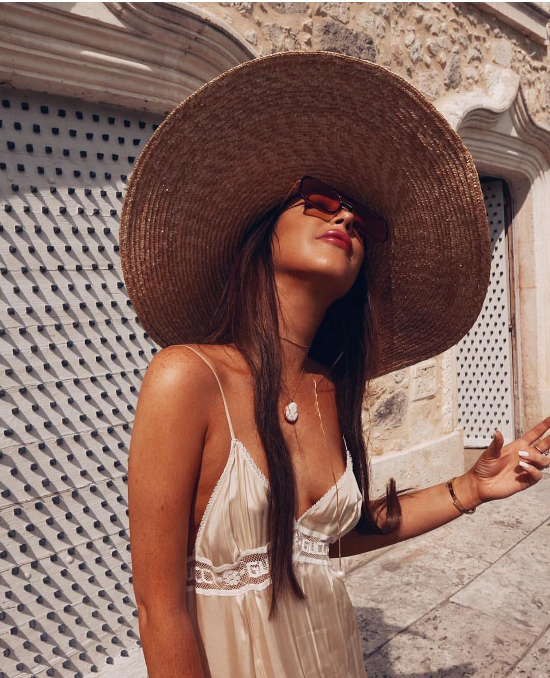 Wide Brim Straw Sunhat And Silken Slipdress For Summer 2020