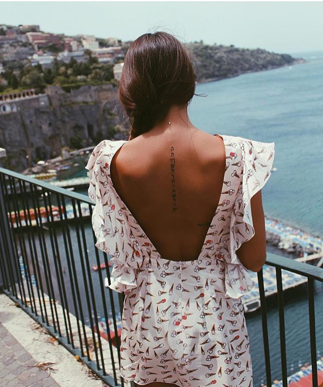 Open Back Dress In Ice Cream Print For Summer Vacation 2020