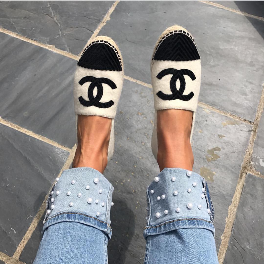 Wool Espadrilles And Cuffed Jeans Embellished With Pearls 2019
