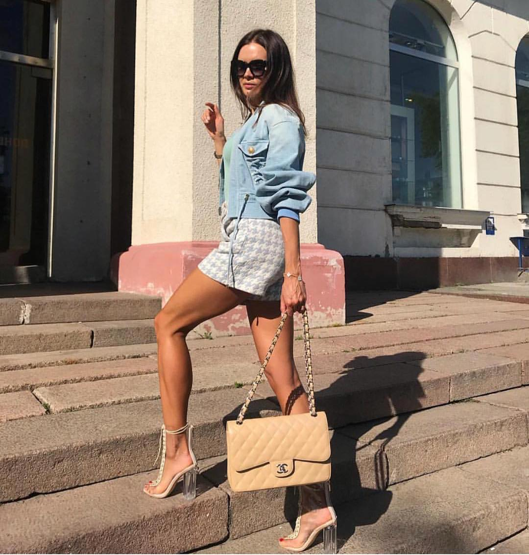 Light Blue Denim Jacket And Houndstooth Print Mini Skirt With Clear Booties 2020