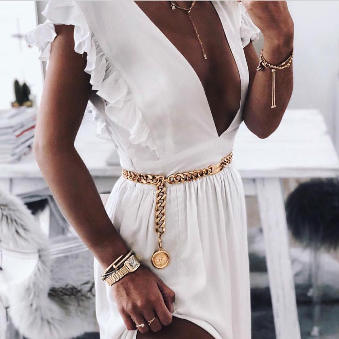 White Midi Dress With Ruffles And Gold Chain Belt for Summer 2019