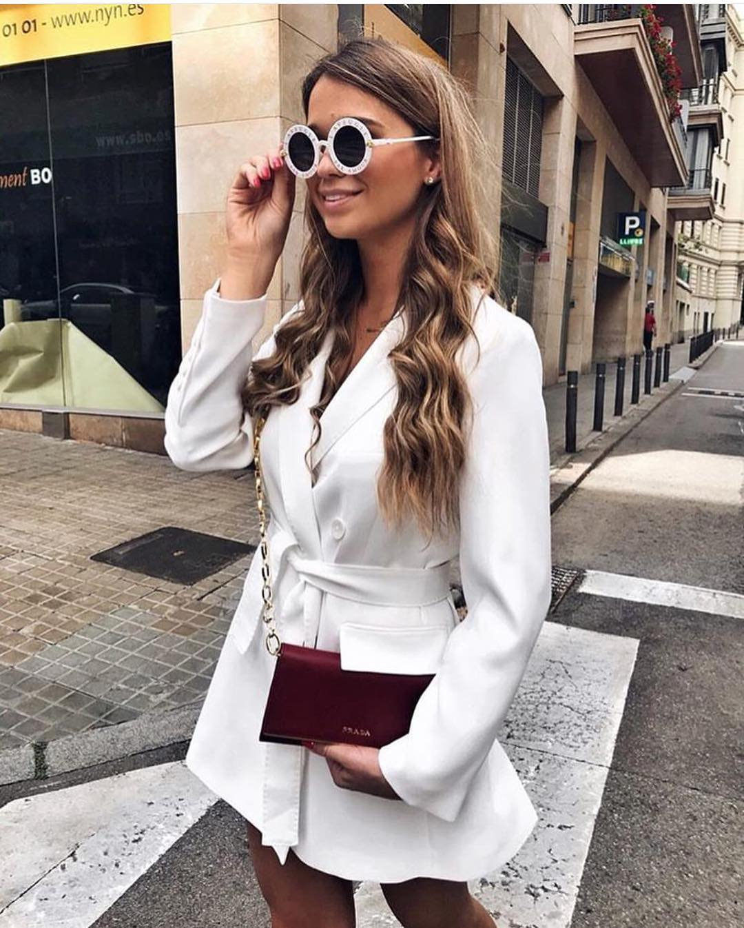 Short Belted Blazer Dress In White For Summer 2019