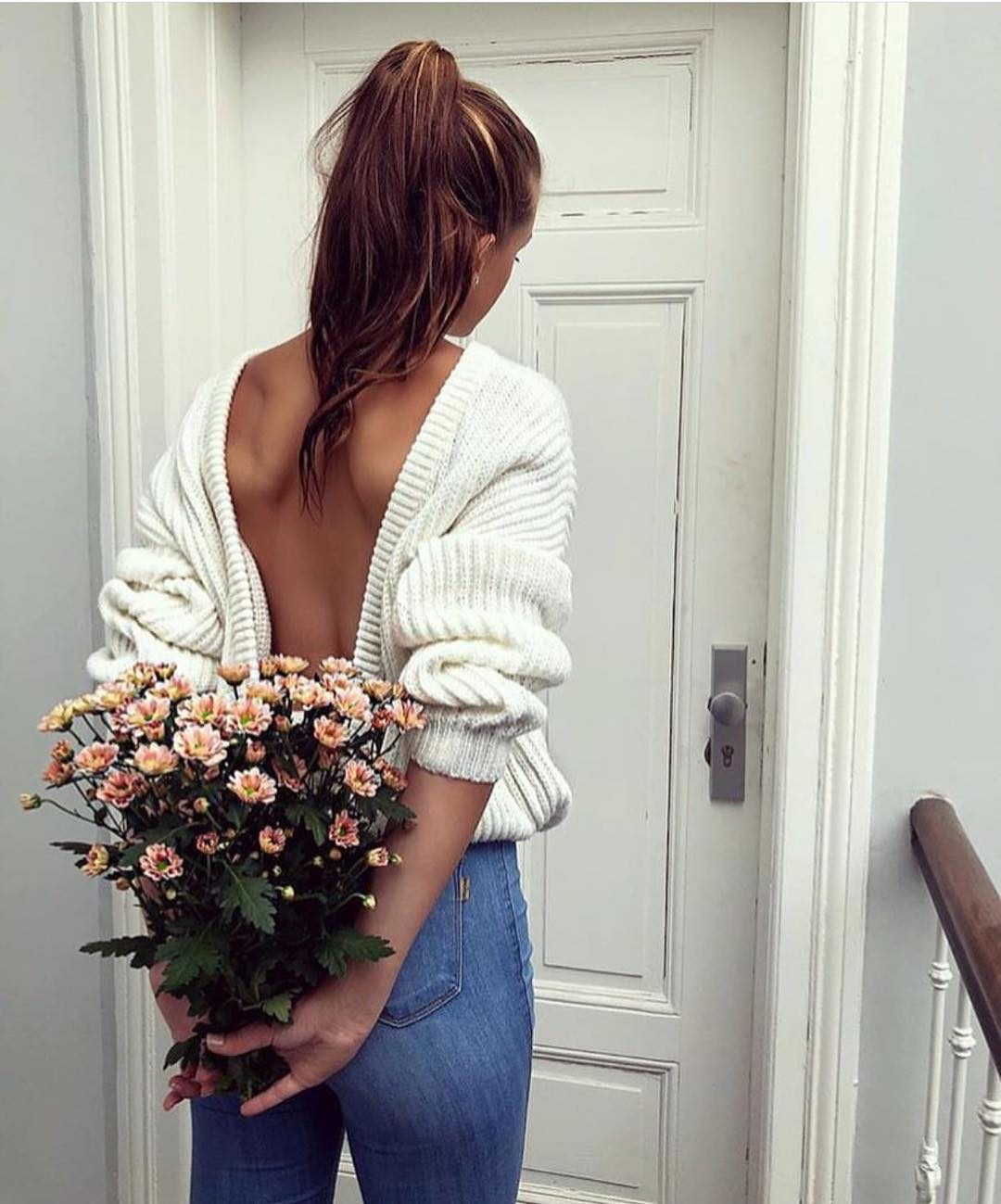 White Sweater With An Open Back With Blue Jeans For Spring 2019