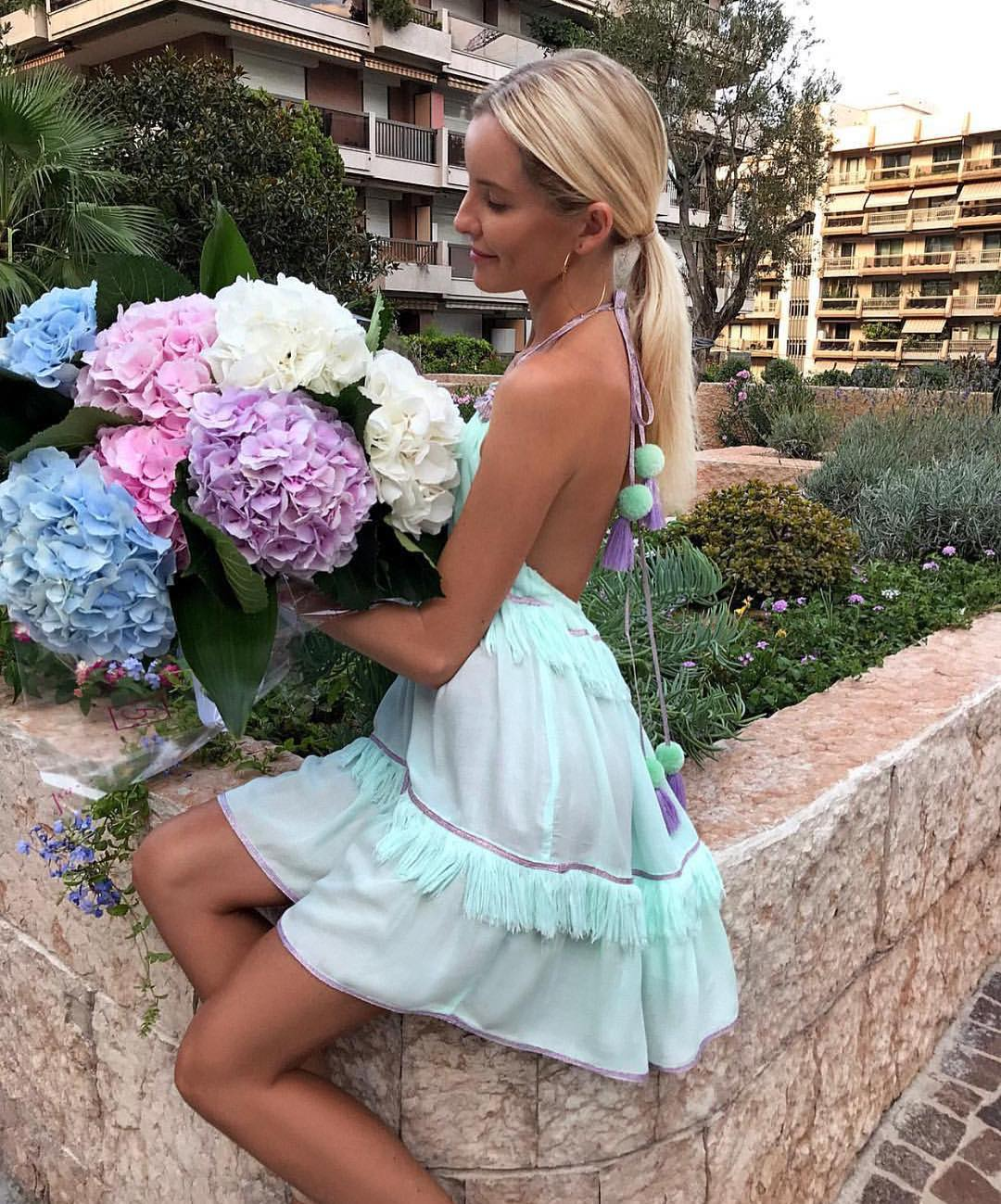Pastel Turquoise Linen Dress With Open Back For Summer Trips 2019