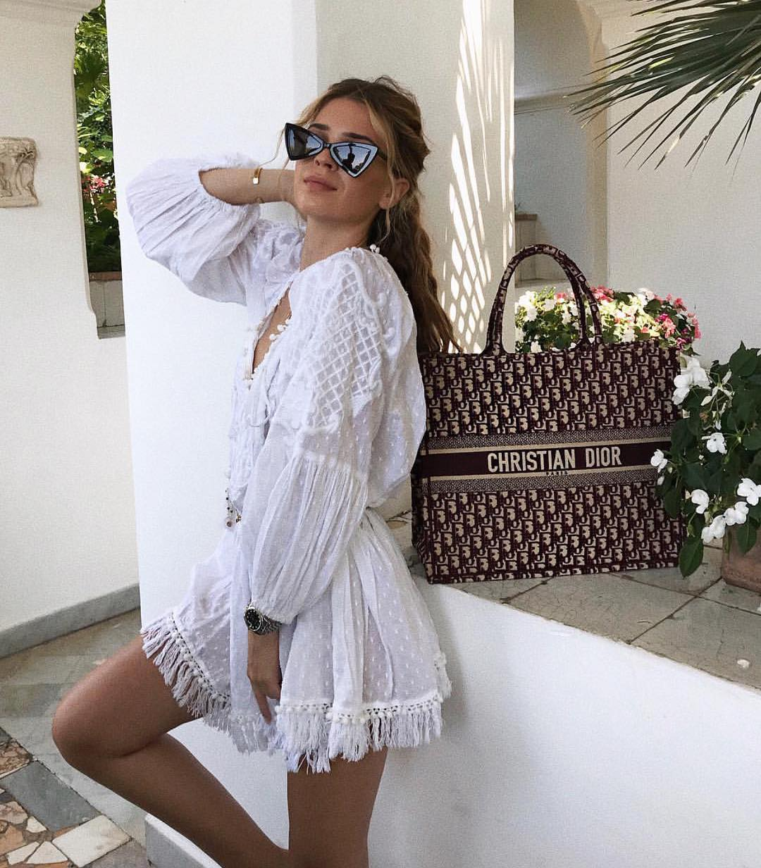 Bohemian Long Sleeve Peasant Dress In White For Hot Summer 2019