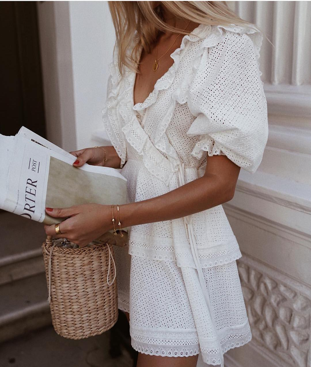 White Perforated Bohemian Dress For Summer 2020