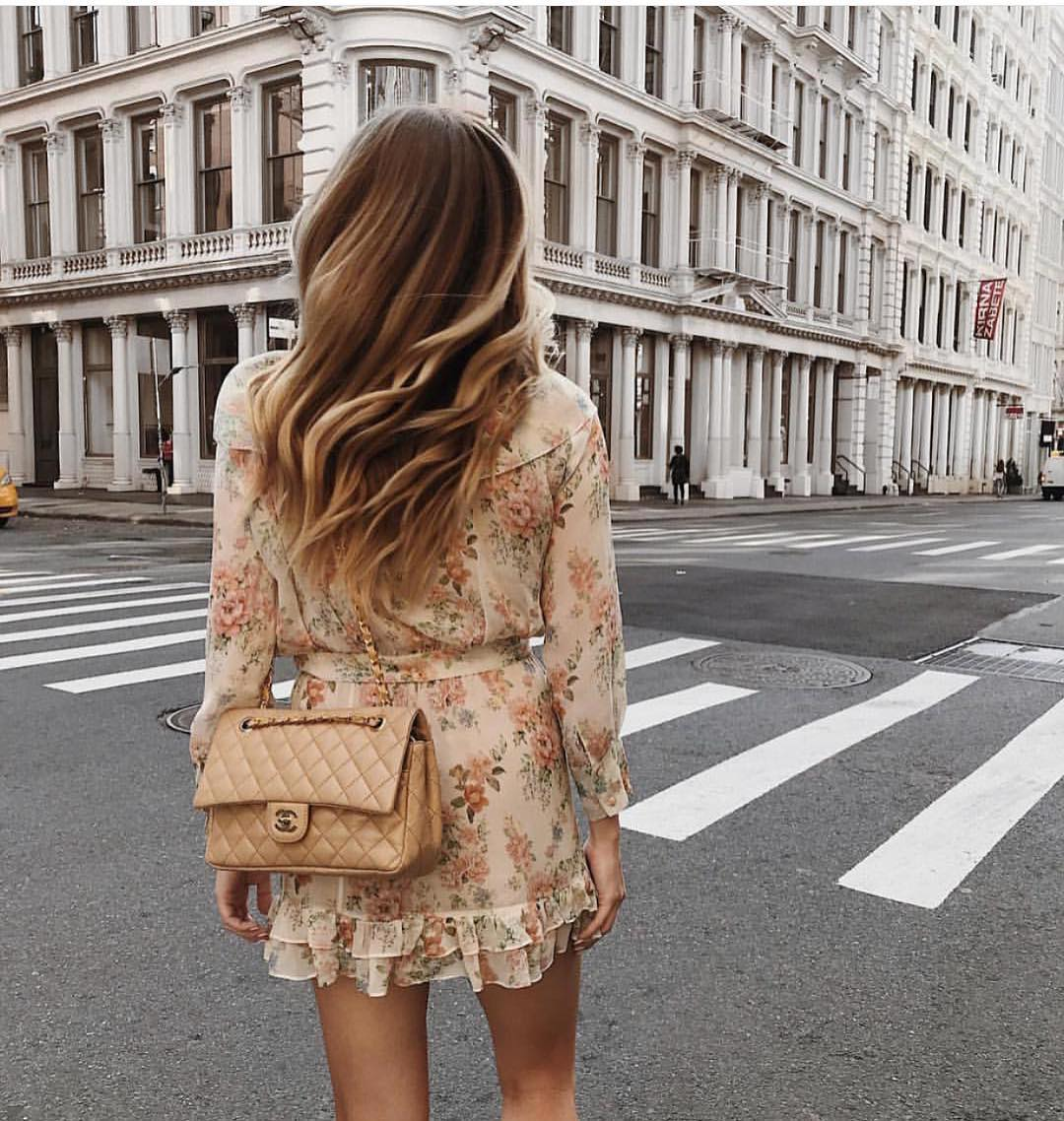 Light Beige Boho Dress In Floral Print For Summer City Street Walks 2019