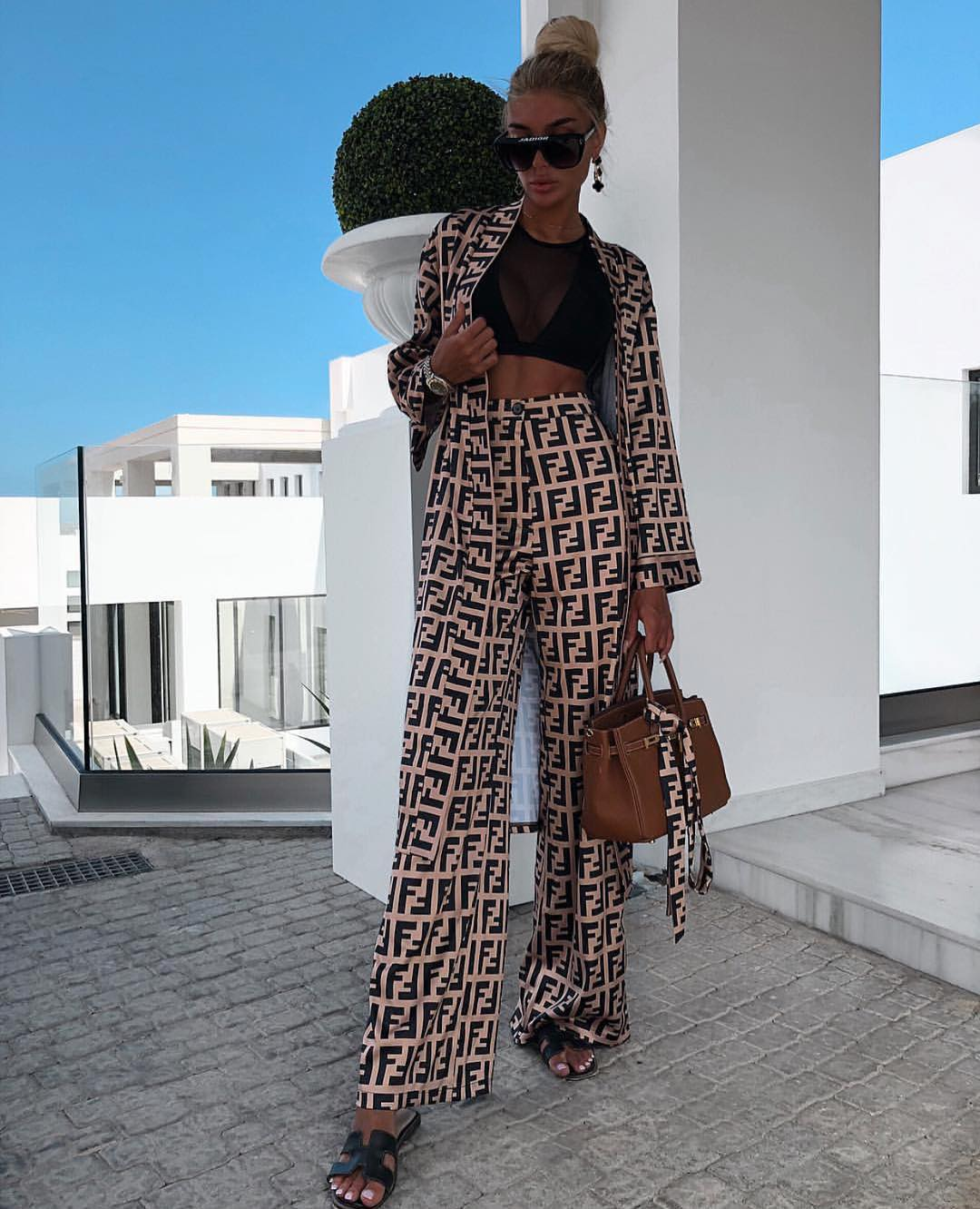 Printed Pantsuit With Wide Pants For Summer Vacation 2020