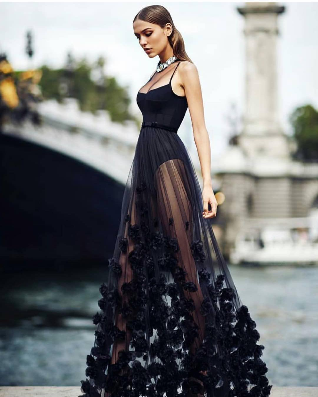 Black Bodysuit With Black Sheer Maxi Skirt For Special Evening Parties 2020