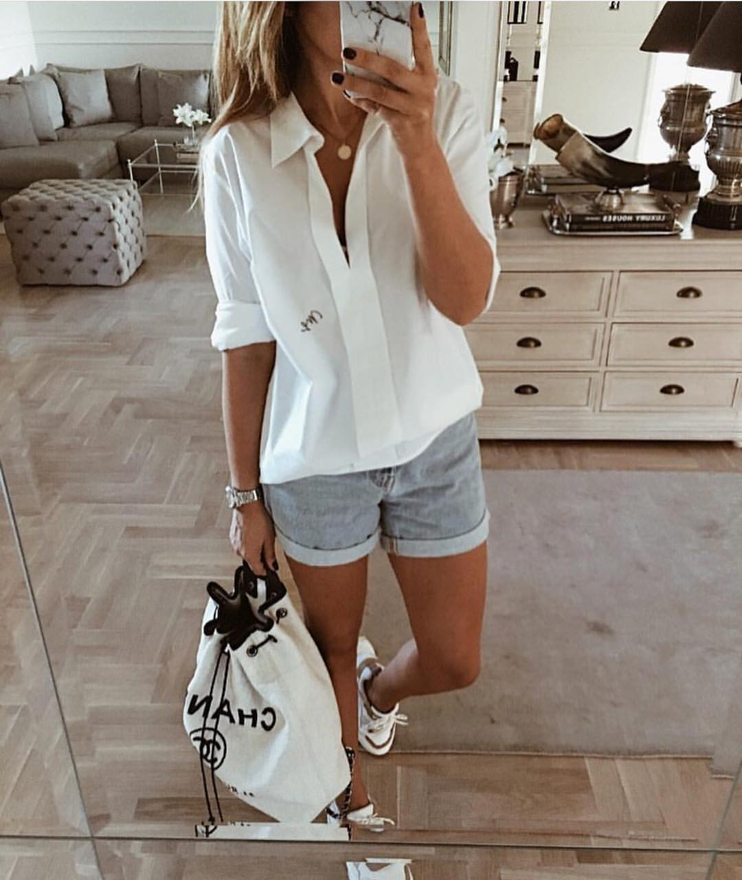 Classic Summer Basics: White Shirt, Denim Shorts, White Sneakers 2020