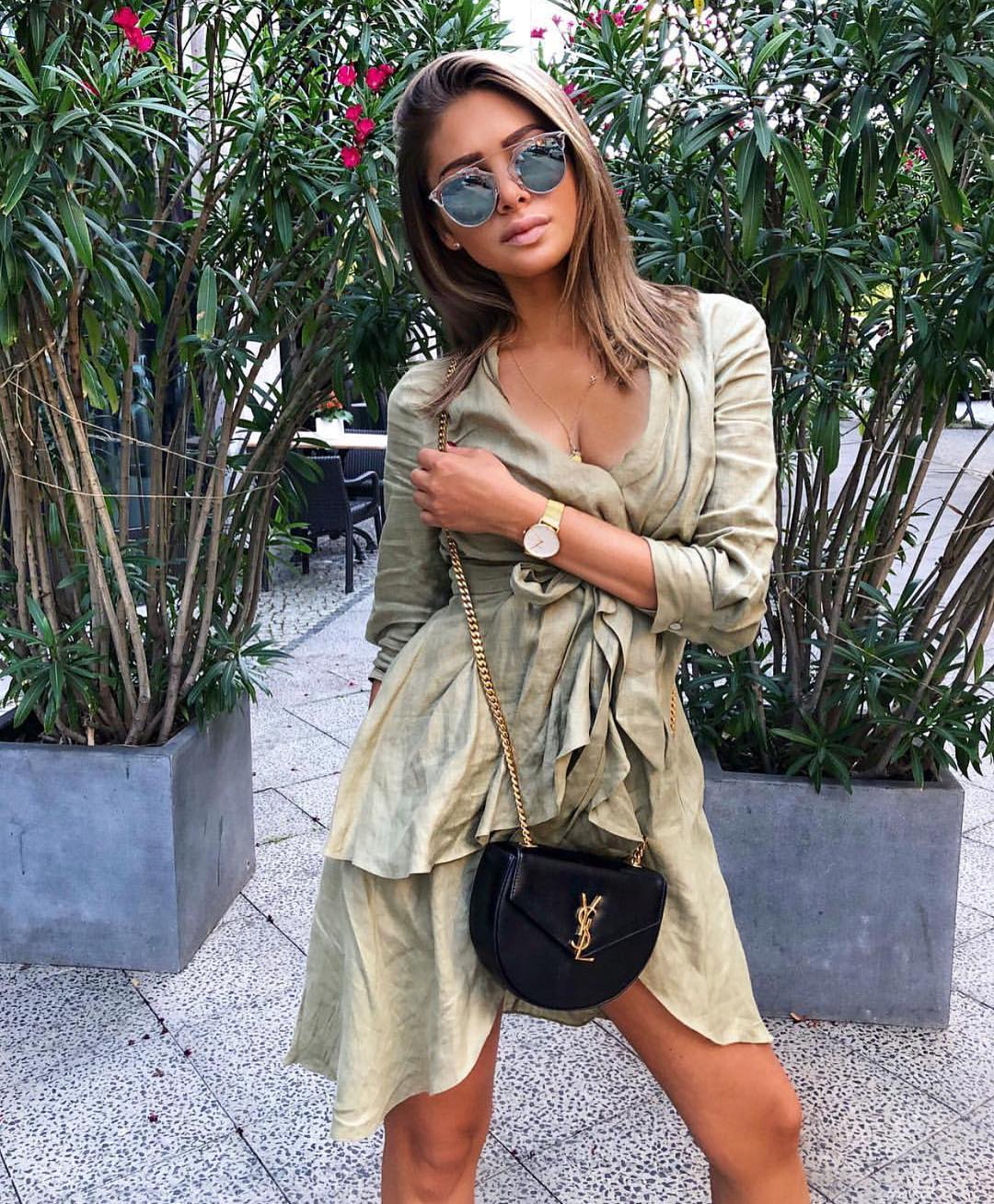 Safari Style Asymmetric Khaki Green Dress 2019
