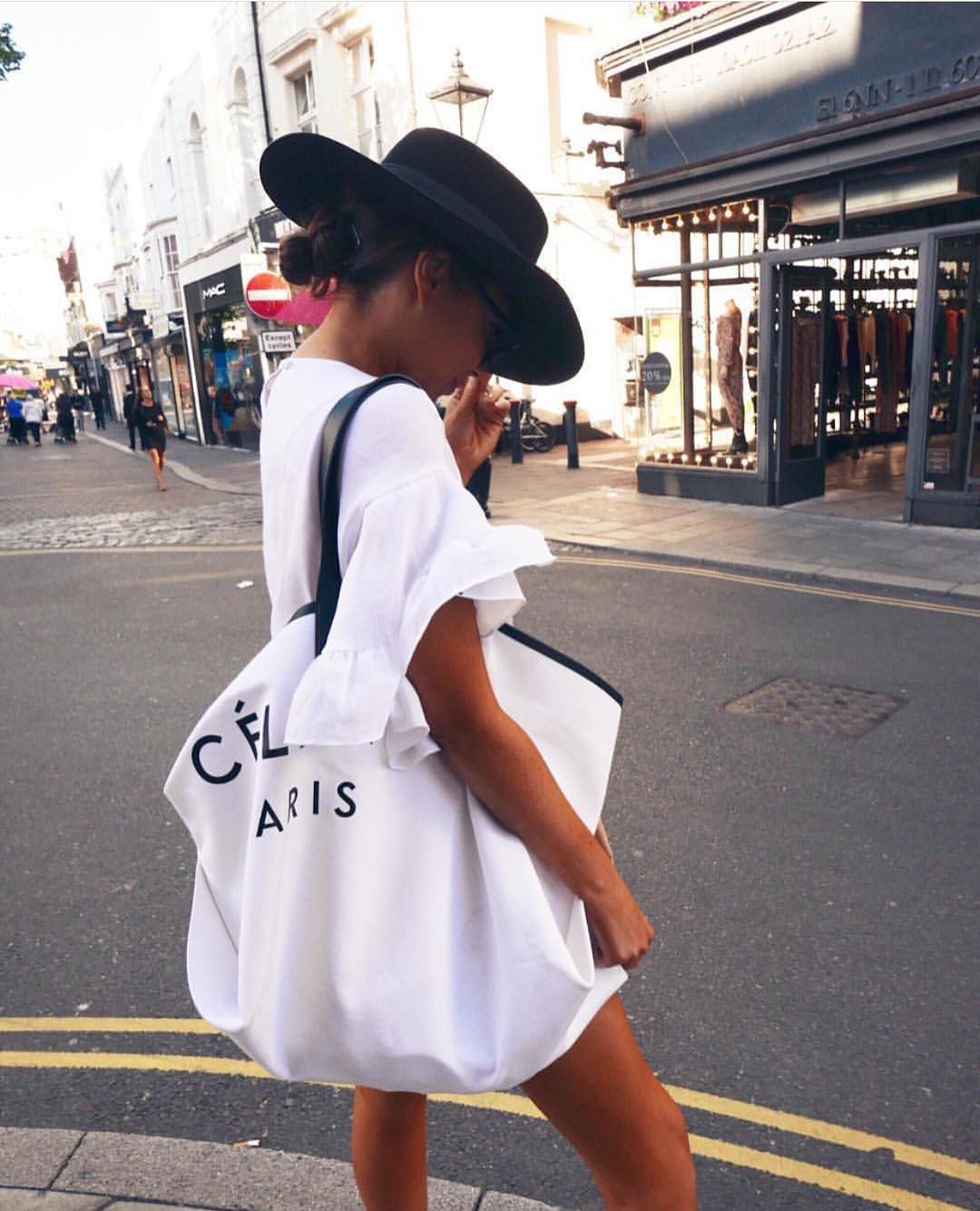 White T-Dress And Black Wide-Brim Hat For Summer In London 2019