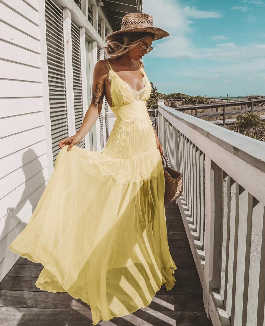 Pastel Yellow Lace Sheer Maxi Gown With Spaghetti Straps For Summer 2020