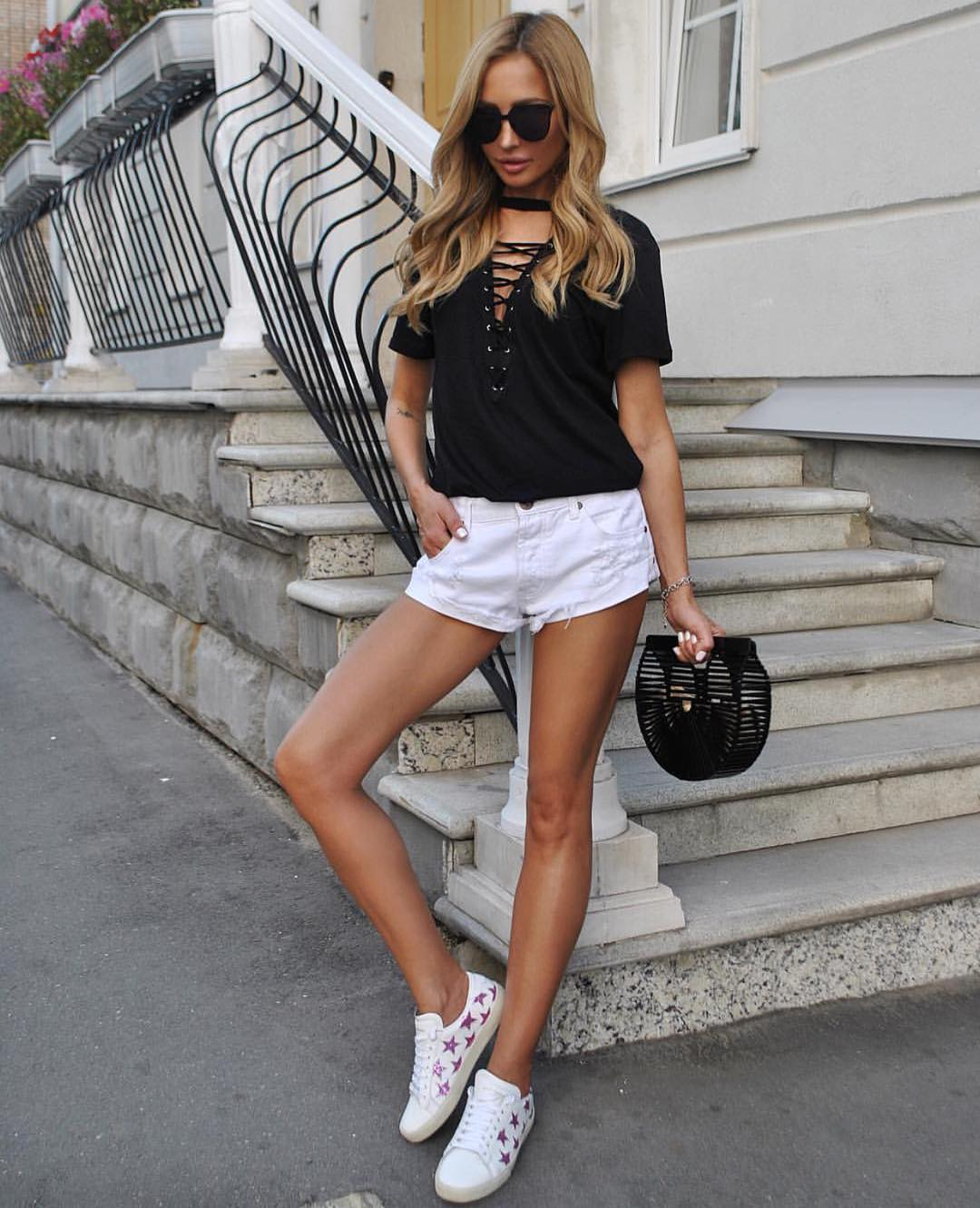 Black-White Summer Essentials: Lace Up Neck Black Tee And White Shorts 2020