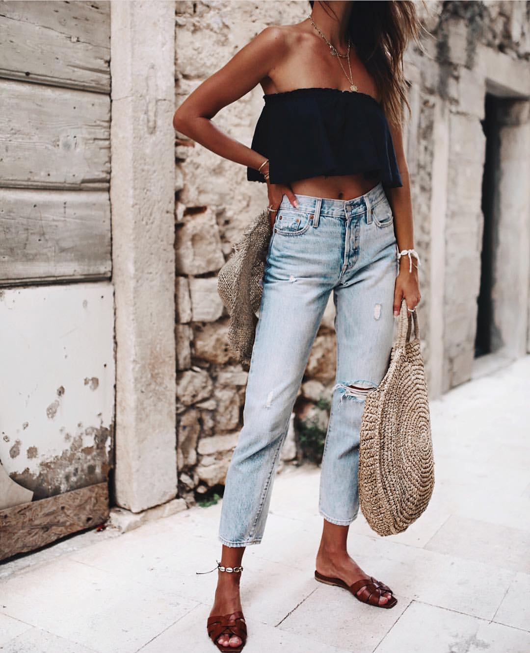 Black Ruffle Bandeau Top And Ankle Jeans In Wash Blue For Summer 2019