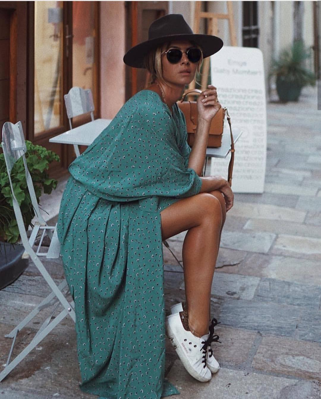 Turquoise Green Maxi Dress With White Sneakers For Summer Trips 2020