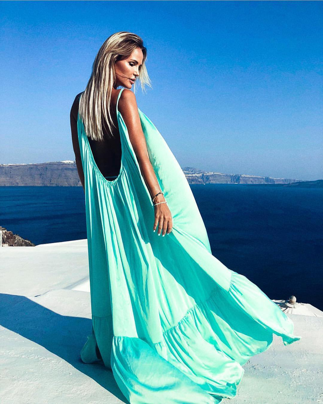 Open Back Neon Turquoise Maxi Dress 2019