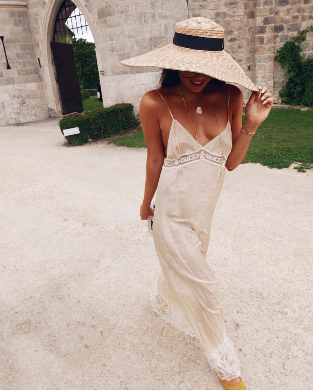 White Maxi Slip Dress With Spaghetti Straps For Summer 2019