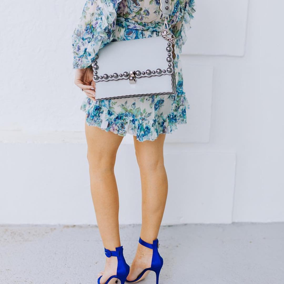 Rich Blue Heeled Sandals And Floral Print Dress For Summer Garden Party 2019