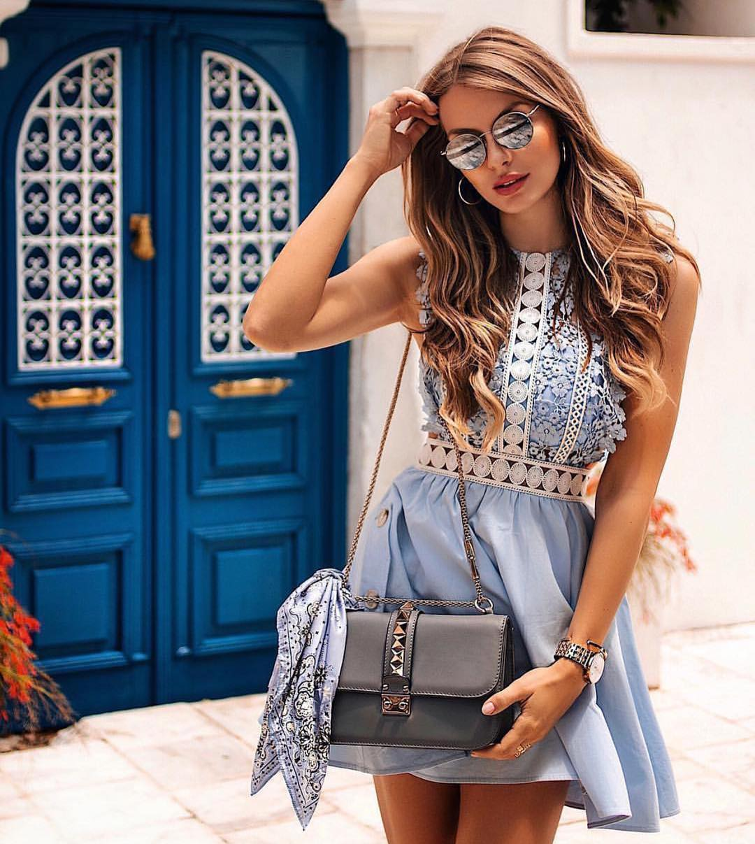 Boho Style Sleeveless Light Blue Dress For Summer Vacation 2020