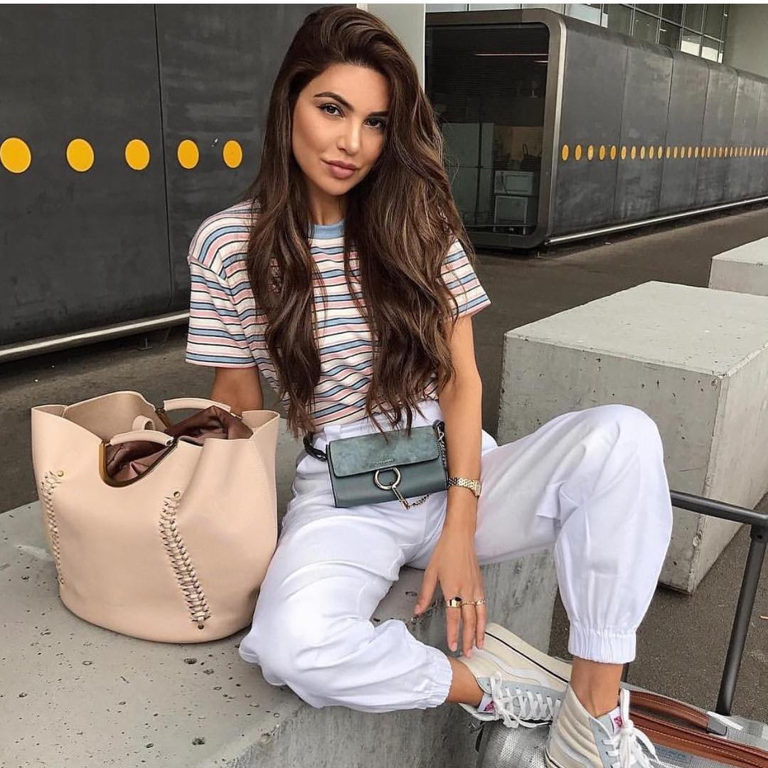 Striped T-Shirt With White Joggers And High-Top Sneakers For Summer 2020