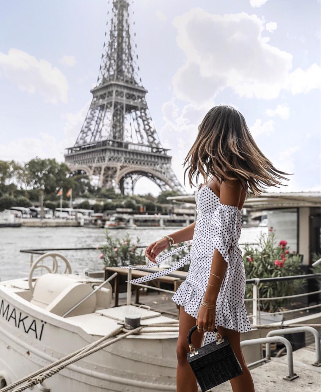 Parisian Chic Style For Summer: White Dress In Black Polka Dots 2020